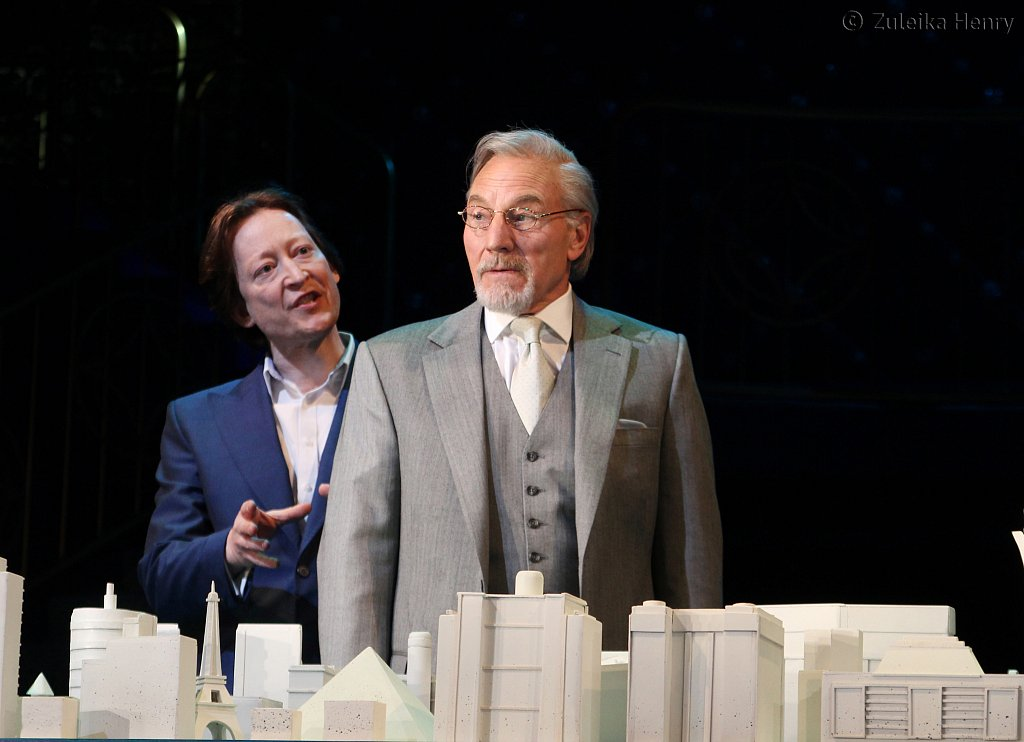Scott Handy as Antonio and Patrick Stewart as Shylock