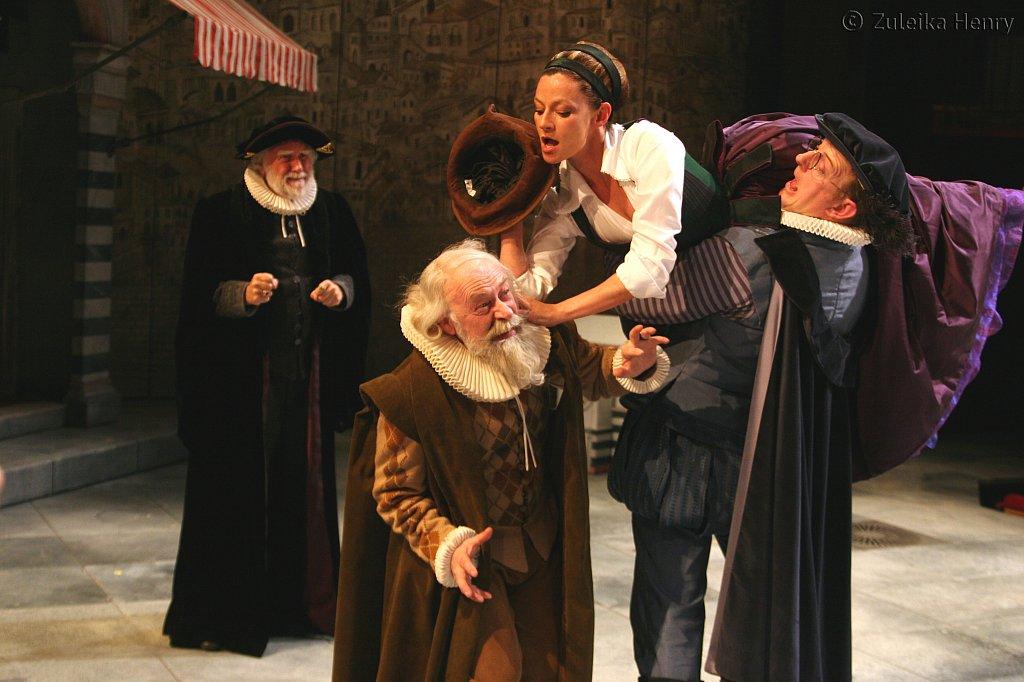 David Hargreaves as Baptista Minola, Peter Shorey as Gremio, Michelle Gomez as Katherine and David Hargreaves as Hortensio