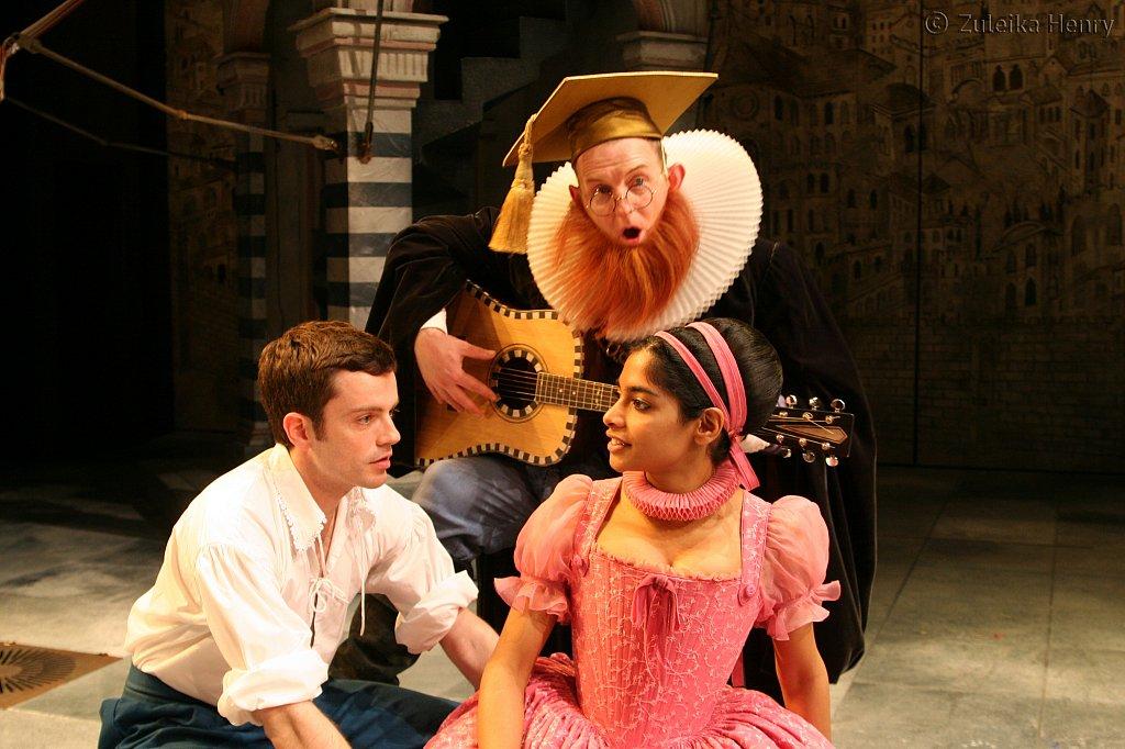 Patrick Moy as Lucentio, Amara Karan as Bianca and Sean Kernes as Hortensio