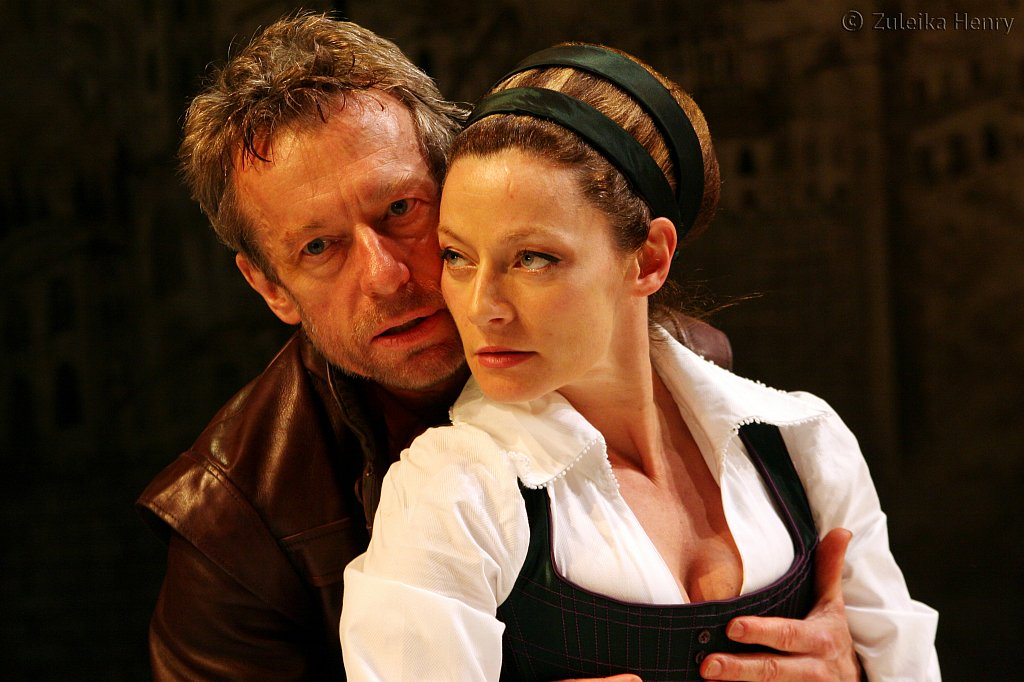 Steven Boxer as Petruchio and Michelle Gomez as Katherine