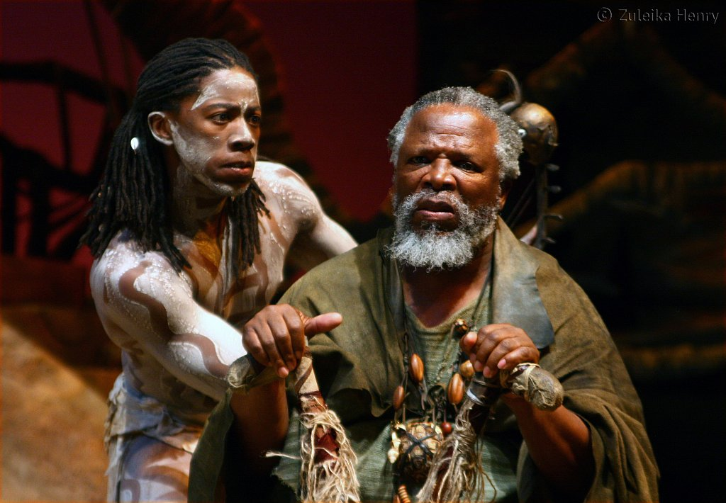 Atandwa Kani as Ariel and John Kani as Caliban
