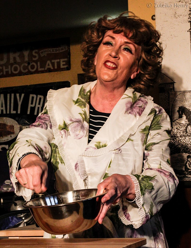 Kate McNab as Fanny Cradock in Fanny and Johnnie Cradock Cook The Great American Songbook by Sheila Hannon