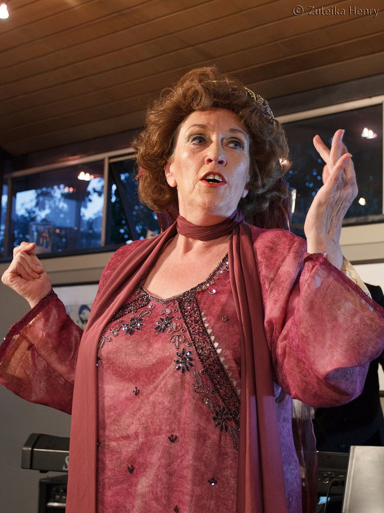 Kate McNab as Fanny Cradock in Fanny and Johny Cradock Cook The Great American Songbook by Sheila Hannon