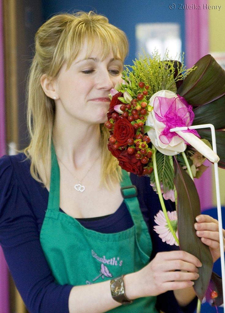 Annette Chown in Wedding Flowers by Helen Melchar