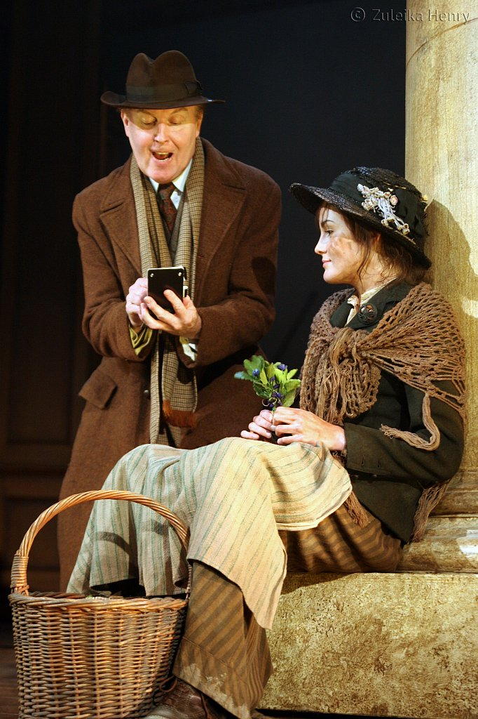 Tim Pigott-Smith as Prof. Higgins and Michelle Dockery as Eliza Doolittle