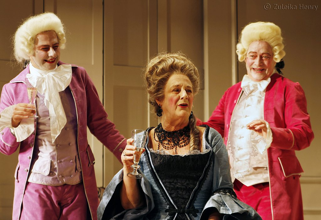 Grant Gillespie as Sir Benjamine Backbite, Maggie Steed as Mrs Candour and David Killick as Crabtree
