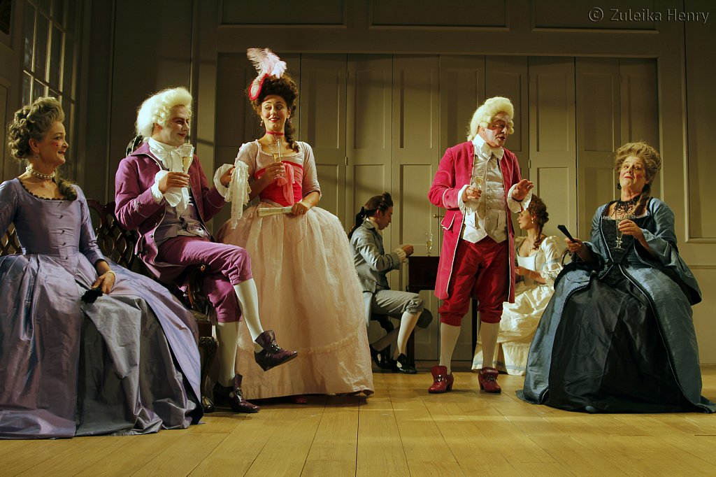 Serena Evans as Lady Sneerwell, Grant Gillespie as Sir Benjamine Backbite, Suannah Fielding as Lady Teazle, David Killick as Crabtree and Maggie Steed as Lady Candour