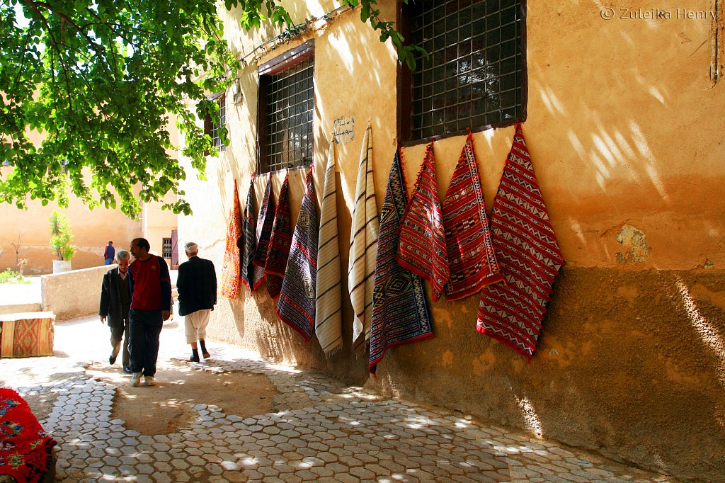 Carpets for sale in the market, Fez