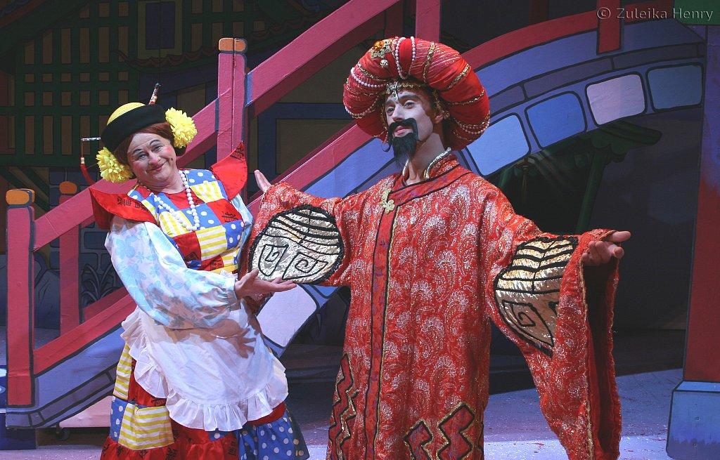 Chris Harris as Widow Twanky and Ben Russll as The Emperor