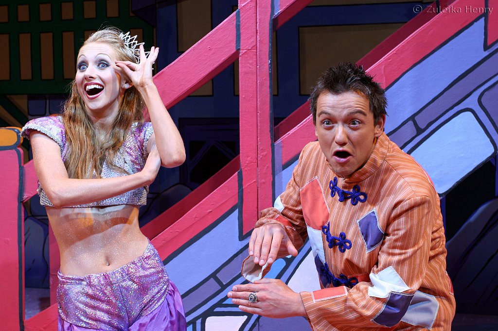 Emily Alexander as genie of the ring and Chris Till as Aladdin