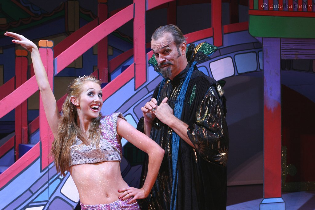 Emily Alexander as genie of the ring and Clive Mantle as Abanazar