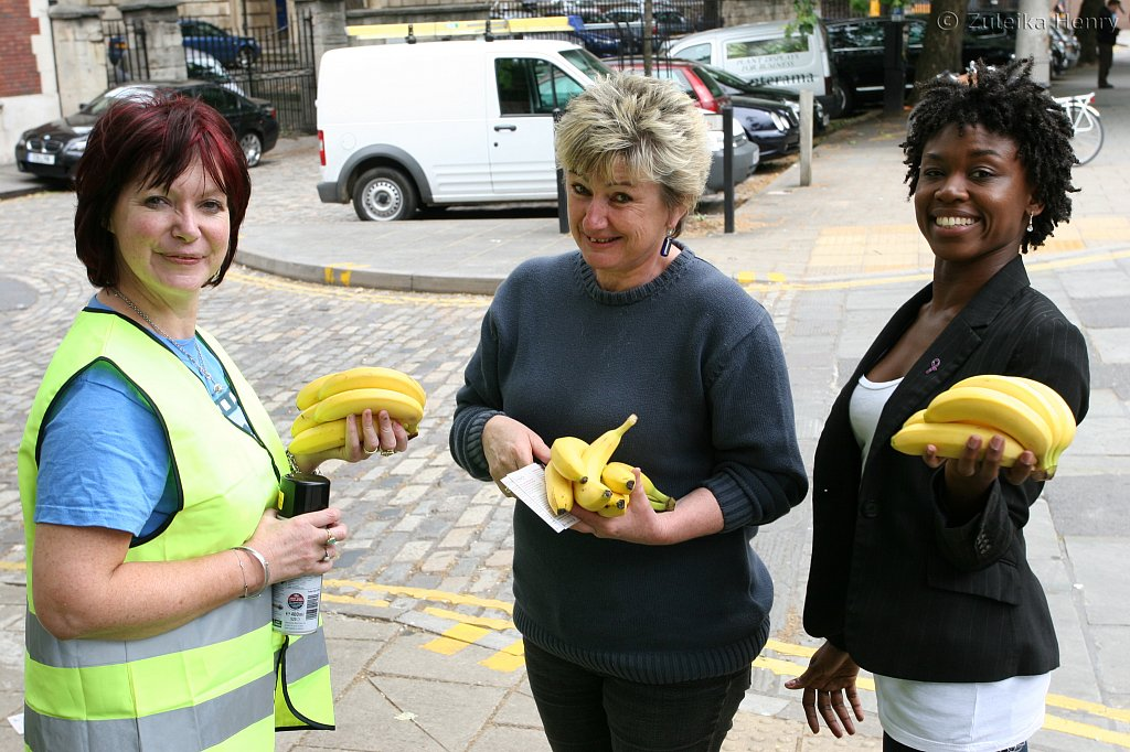 Catherine Johnson, Sheila Hannon and Nadia Williams drum up some support for Trade It