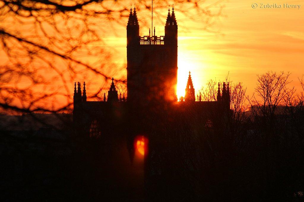 Sunset behind Bath Abbey