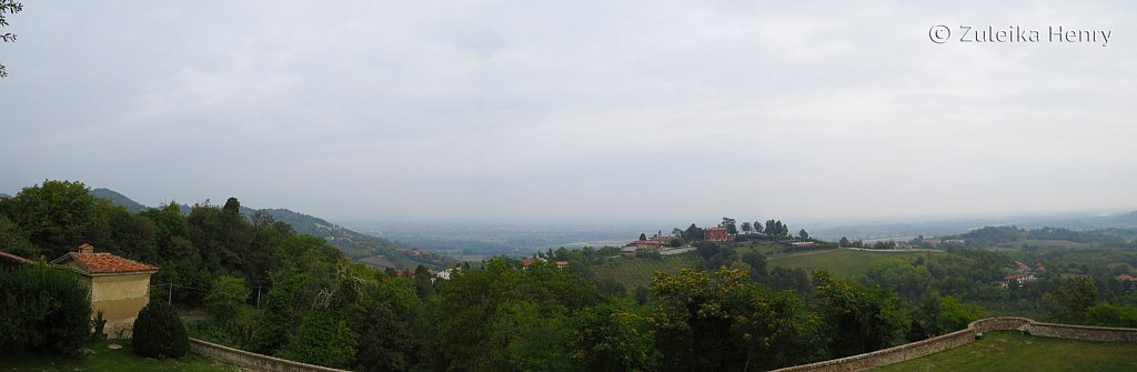 View from the ramparts of the castle, San Sebastiano Po, Piedmont, Italy