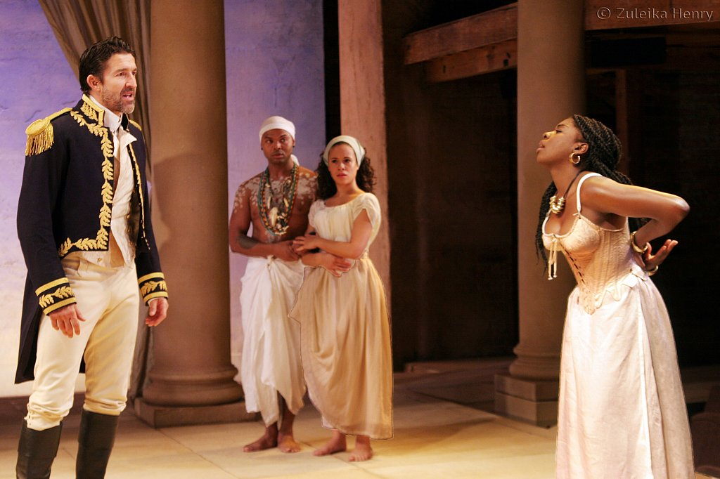 Jonathan Cake as Antony, Chivas Michael as Mardian, Charise Castro Smith as Iras and Joaquina Kalukango as Cleopatra