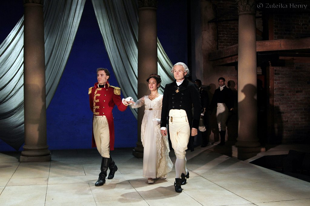 Samuel Collings as Octavius, Charise Castro Smith as Octavia and Henry Stram as Lepidus