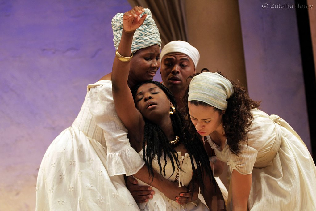 Sarah Niles as Charmian, Joaquine Kalukango as Cleopatra, Chivas Michael as Mardian and Charise Castro Smith as Iras