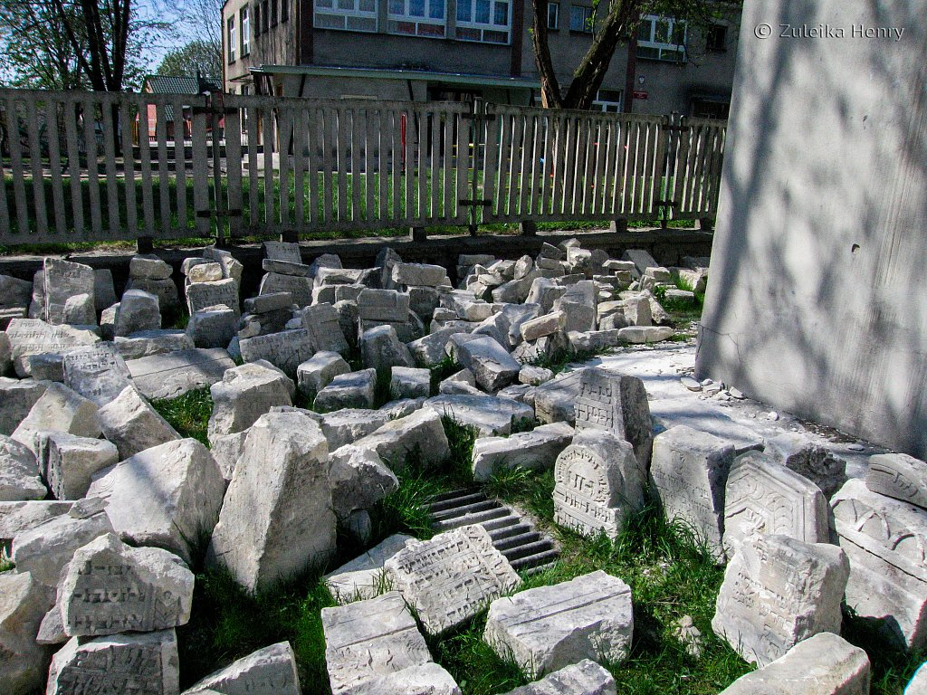 The wonderful wall of stones outside Pinczow Synagogue