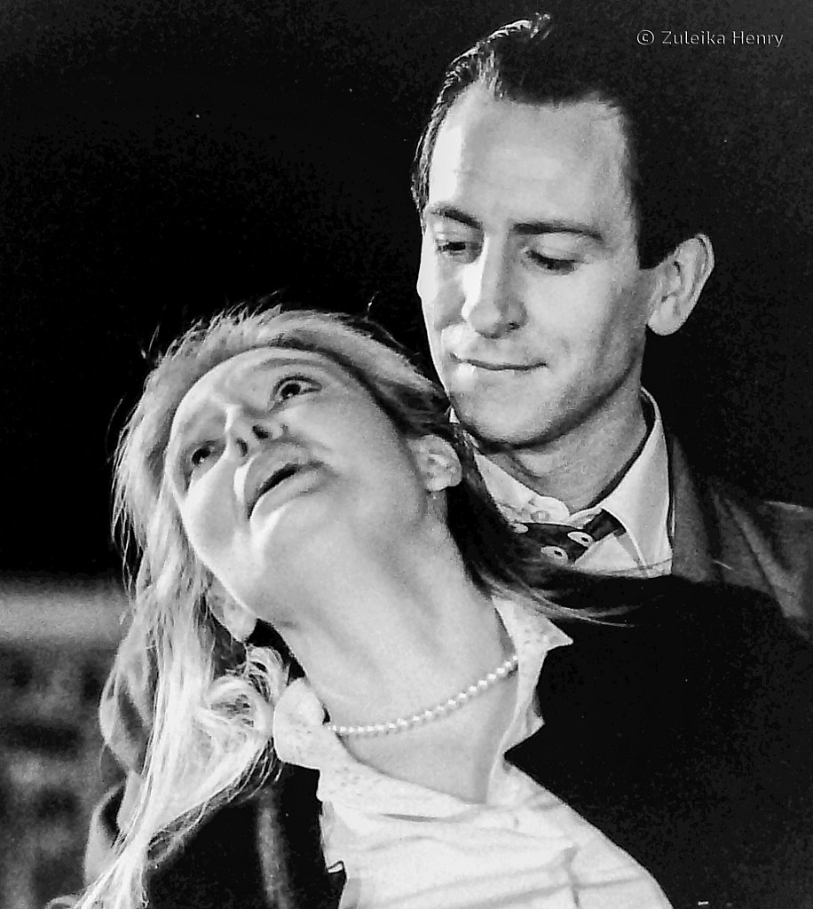 Anne O'Neill as Sarah Brown and Joseph Corbett as Sky Masterson