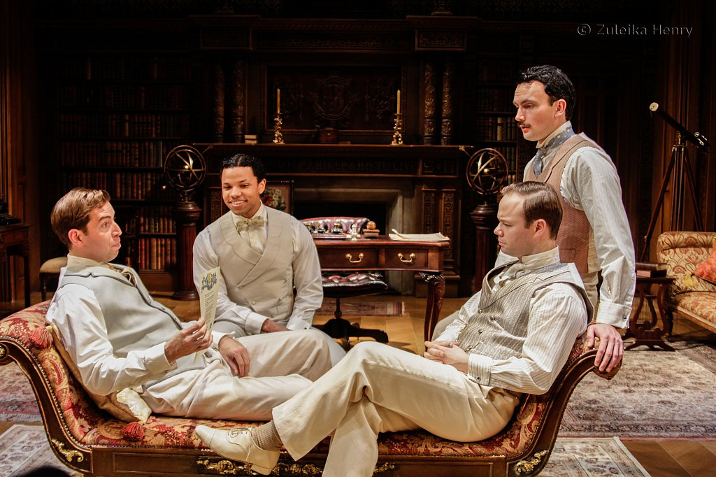Edward Bennett as Berowne, Tunji Kasim as Dumaine, William Belchambers as Longaville and Sam Alexander as King of France