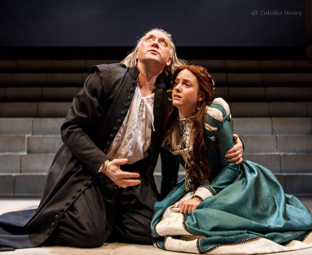 Jasper Britton as Barabas and Catrin Stewart as Abigail