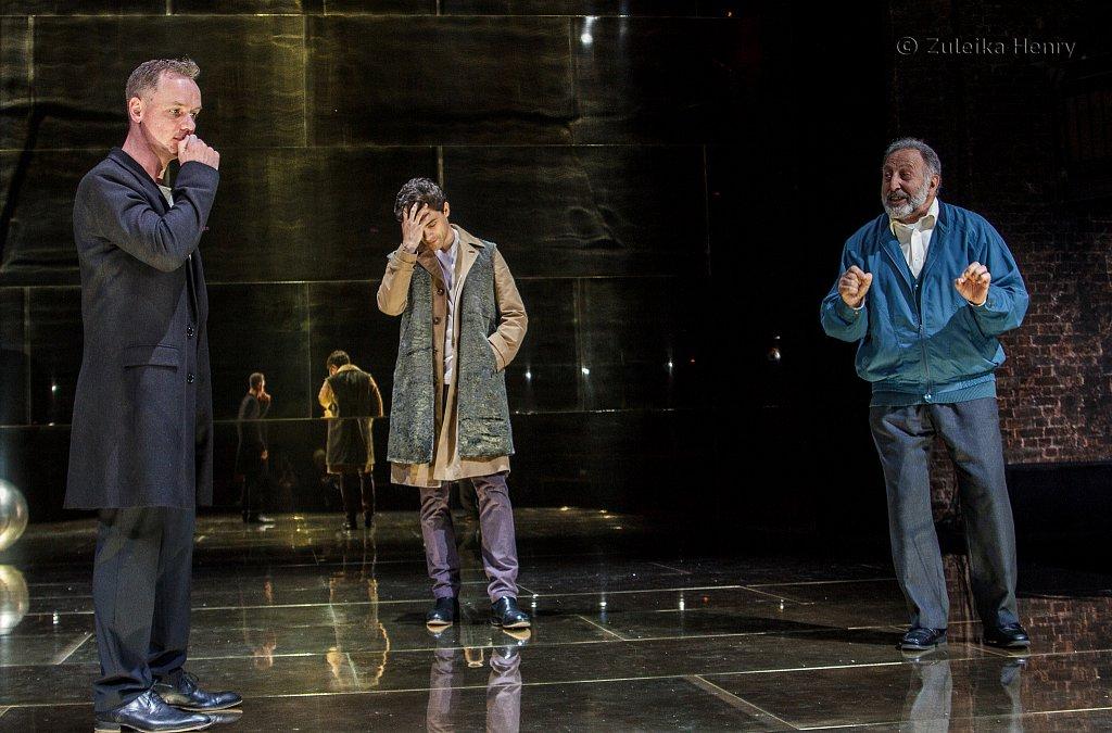 Jamie Ballard as Antonio Jacob Fortune-Lloyd as Bassanio  and Makram J. Khoury as Shylock