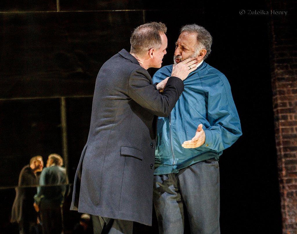 Jamie Ballard as Antonio and Makram J. Khoury as Shylock