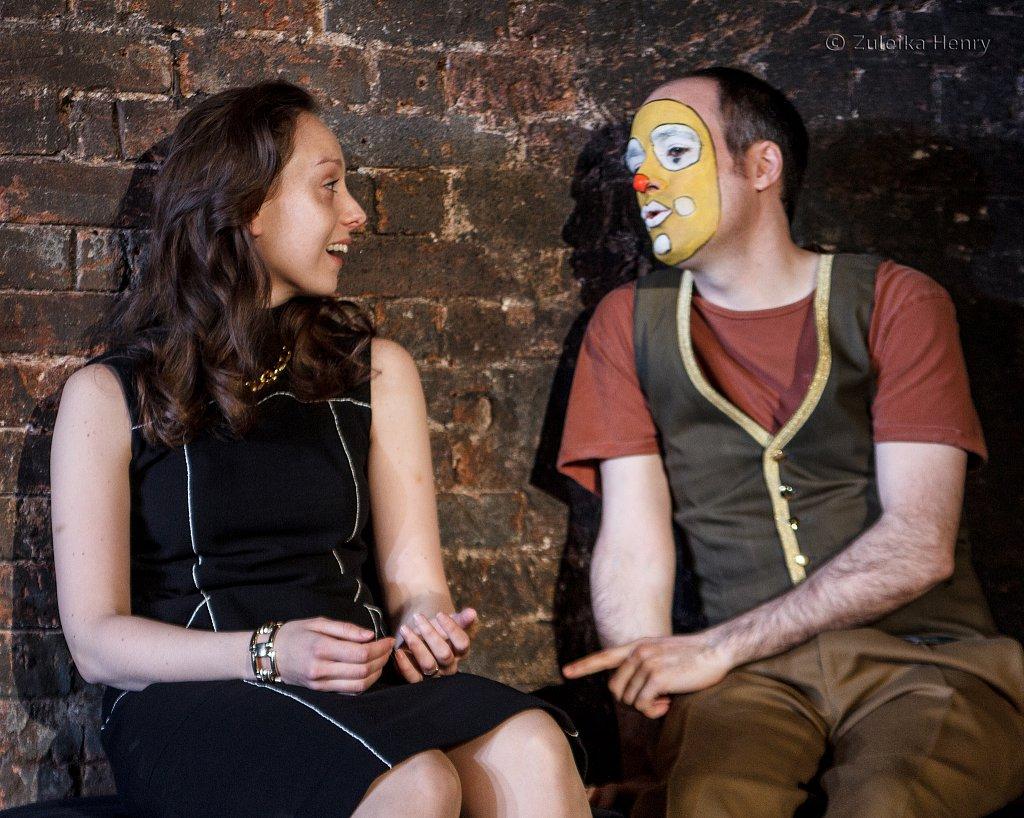 Scarlett Brookes as Jessica and Tim Samuels as Lancelot Gobbo