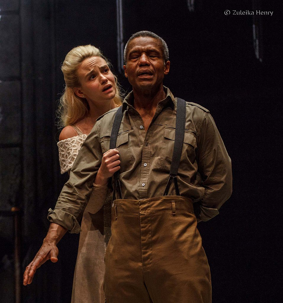 Joanna Vanderham as Desdemona and Hugh Quarshie as Othello