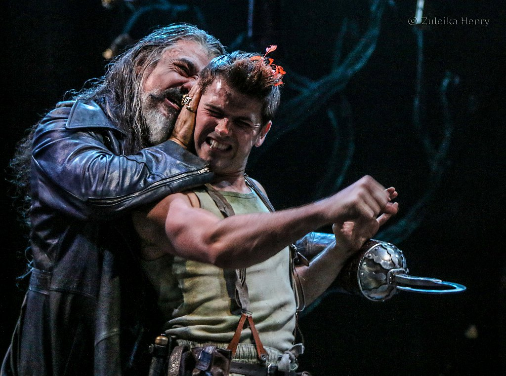 Darrell D'Silva as Hook and Rhys Rusbatch as Peter
