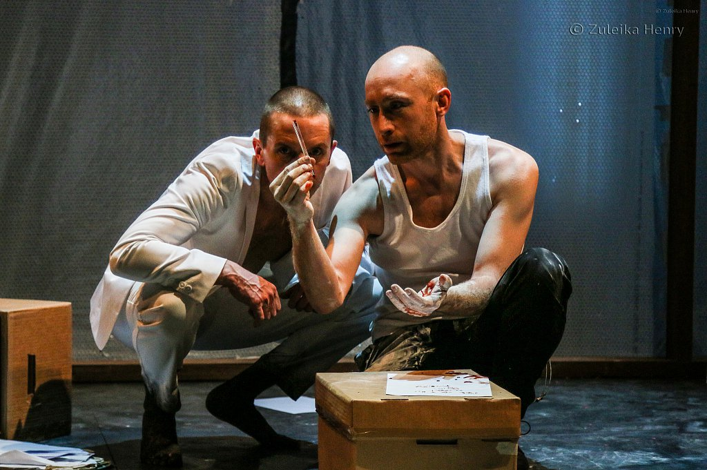 Oliver Ryan as Mephtophilis and Sandy Grierson as Doctor Faustus