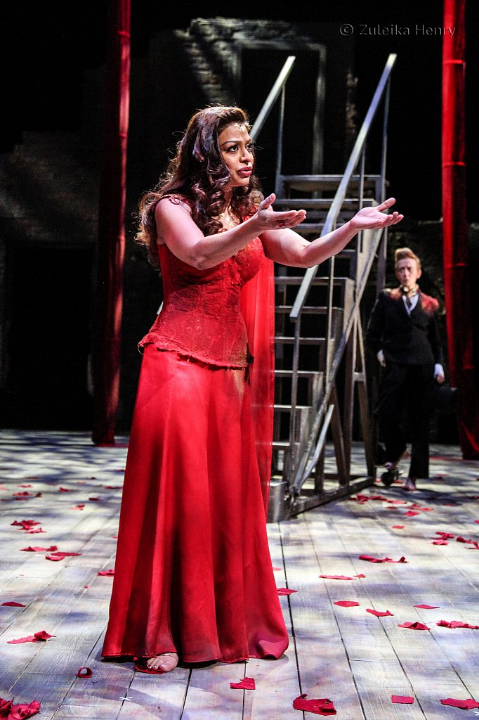 Ayesha Dharker as Titania and Lucy Ellison as Puck