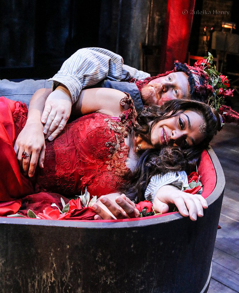 Ayesha Dharker as Titania and David Mears as Bottom