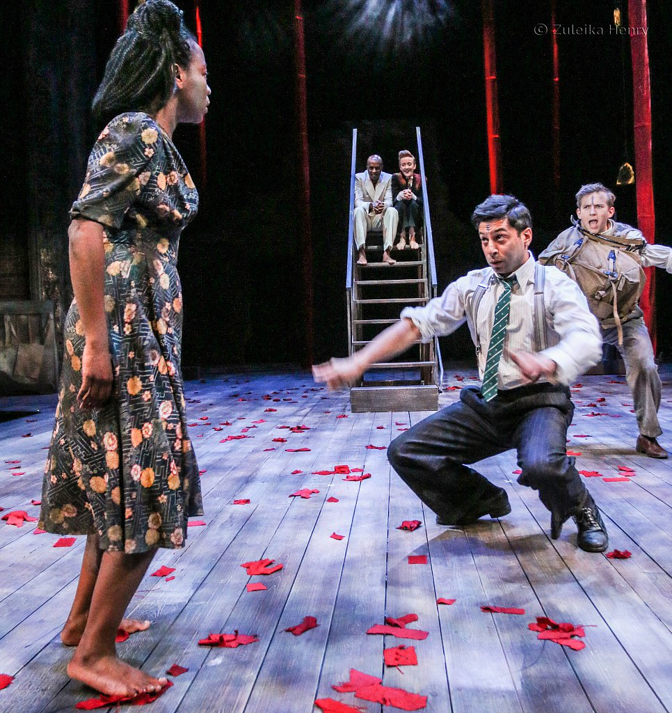 Mercy Ojelade as Hermia, Jack Holden as Lysander, Chris Nayak as Demetrius and Laura Risborough as Helena