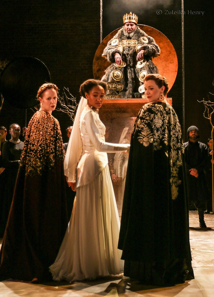 Nia Gwynne as Goneril Natalie Simpson as Cordelia and Kelly Williams as Regan