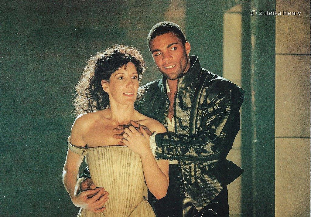 Jane Gurnett as Vittoria Corombon a Venetian lady and Ray Fearon as Brachiano Duke of Padua ''The White Devil' 1996