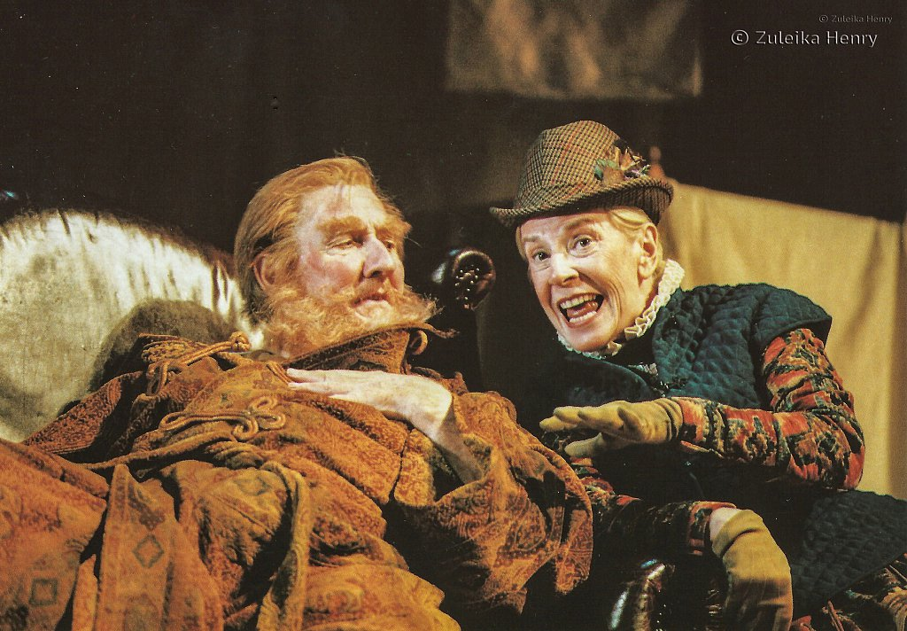 Leslie Phillips as Falstaff and Cherry Morriss Mistress Quickly 'The Merry Wives of Windsor' 1996