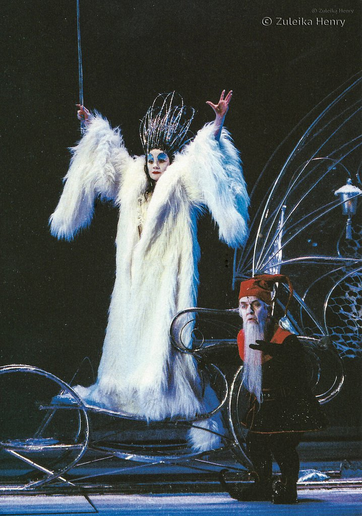 EstelleKohler as The White Witch and Mike Edmonds as The Witch's Dwarf in 'The Lion The Witch and The Wardrobe' 1998